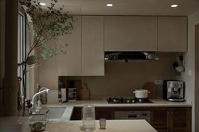 70平简约复古风厨房装潢效果图
