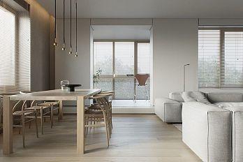 124㎡现代简约公寓餐厅装布置效果图