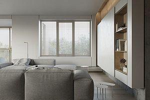 124㎡现代简约公寓客厅电视墙设计效果图