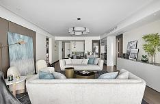123㎡温馨北欧风客厅沙发布置效果图