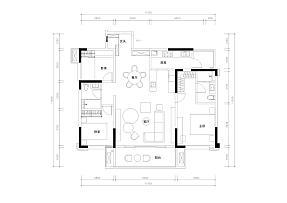 123㎡温馨北欧风三居室平面图
