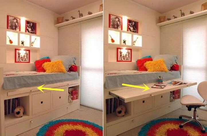 床头柜还不够实用 不如给床板装一层抽拉板