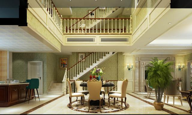 400㎡三室三厅别墅 暖色调的欧式风格也太美了