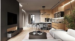 87㎡现代公寓客餐厅效果图
