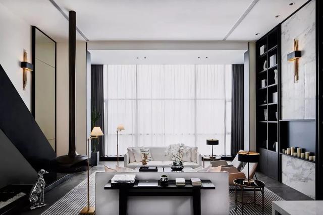 280平挑高别墅设计 高级黑的硬装太有范了
