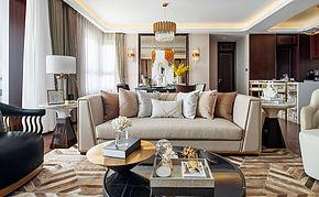 240㎡欧式客厅沙发茶几摆放效果图