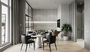 96㎡高级灰公寓餐厅装潢布置效果图
