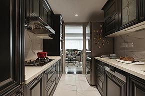130㎡中式复古厨房装潢设计效果图