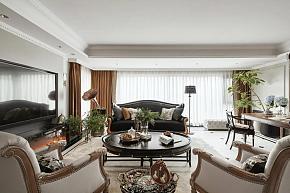 130㎡中式复古客厅整体效果图