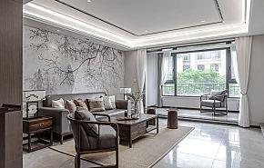 87㎡古典新中式客厅装修效果图