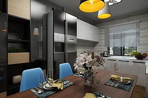 60㎡港式混搭风开放式厨房设计效果图