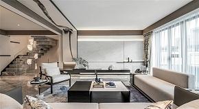 114㎡新中式一楼客厅装修设计效果图