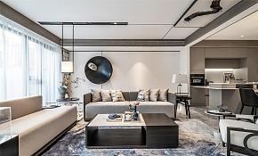 114㎡新中式客厅沙发背景墙装修设计效果图