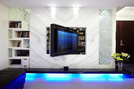 旋轉電視墻巧設計 打造超大現代簡約美家