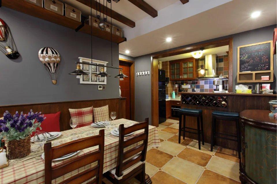 美式乡村风格餐厅吧台设计_装修图片-保障网装修效果图