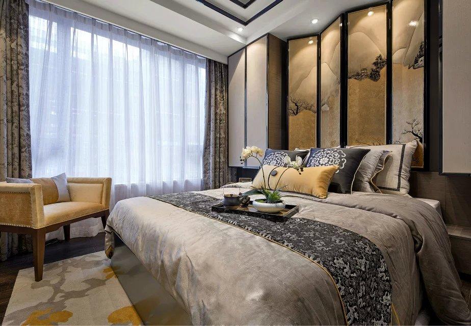 中式卧房窗帘背景墙装修效果图图片