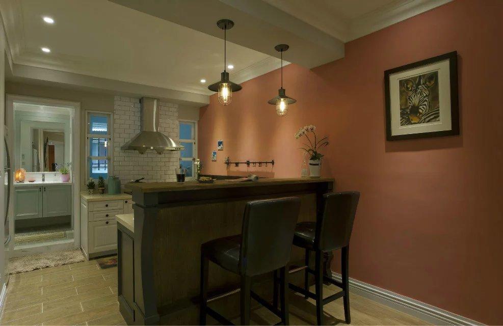 美式风格厨房吧台装修效果图图片