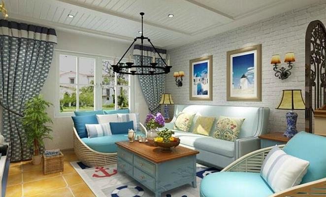 收藏 免费户型设计免费获取报价 小清新地中海 客厅背景墙白色地板 点