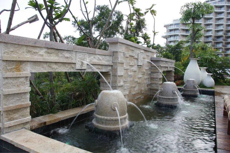 最新中式别墅休闲区喷泉效果图图片