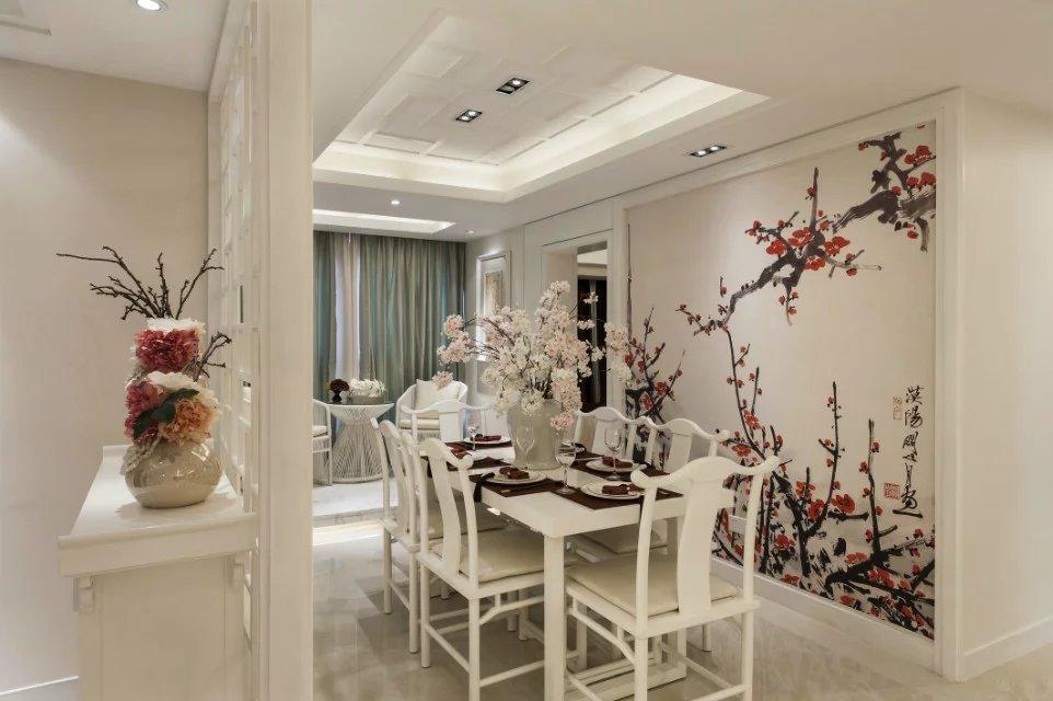 新中式风格手绘餐厅背景墙效果图