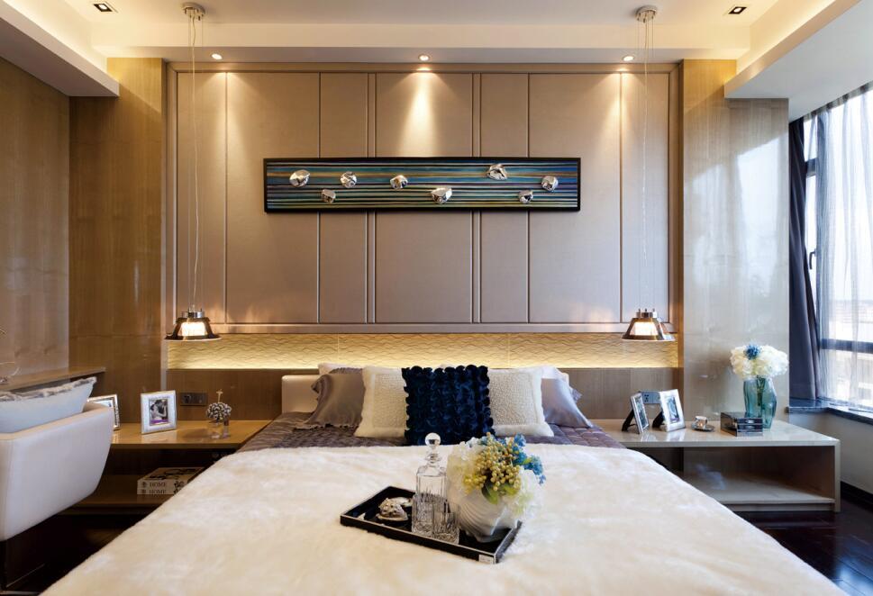 现代中式风格卧室背景墙设计效果图