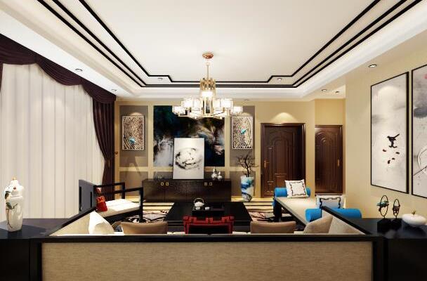 新中式(电视背景) 客厅电视背景墙黄色吊顶 点赞 收藏 免费户型设计图片