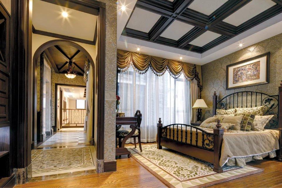 美式卧室窗帘背景墙装修风格效果图