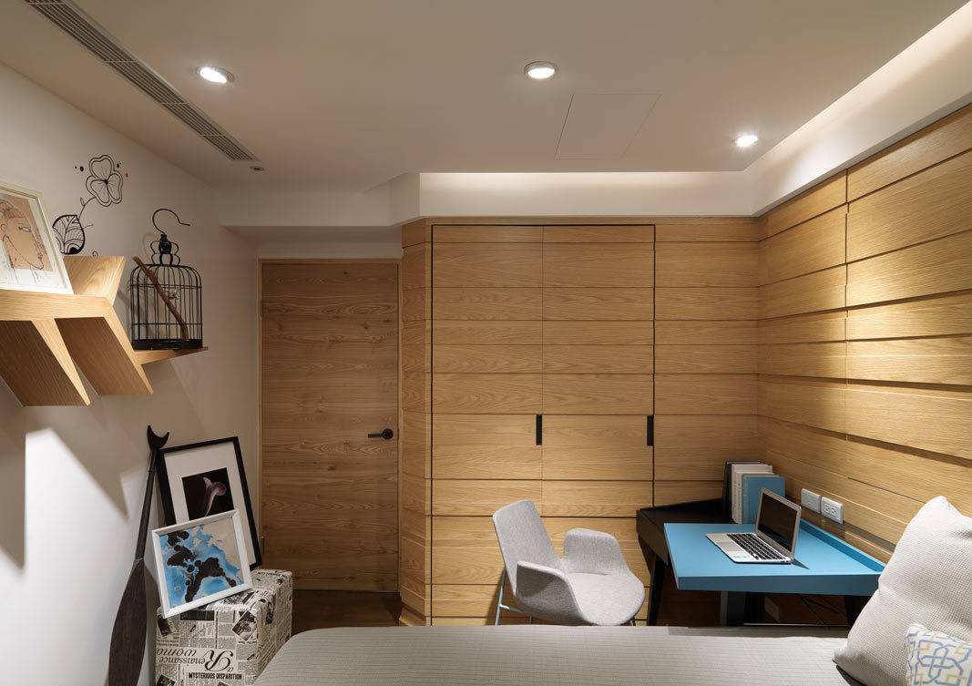 北欧三居卧室床头收纳柜设计