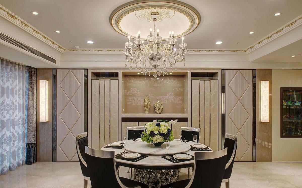 欧式别墅餐厅吊顶餐桌设计