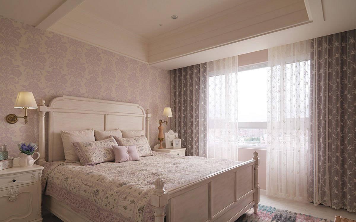 美式乡村卧室窗帘壁纸效果图_装修图片-保障网装修