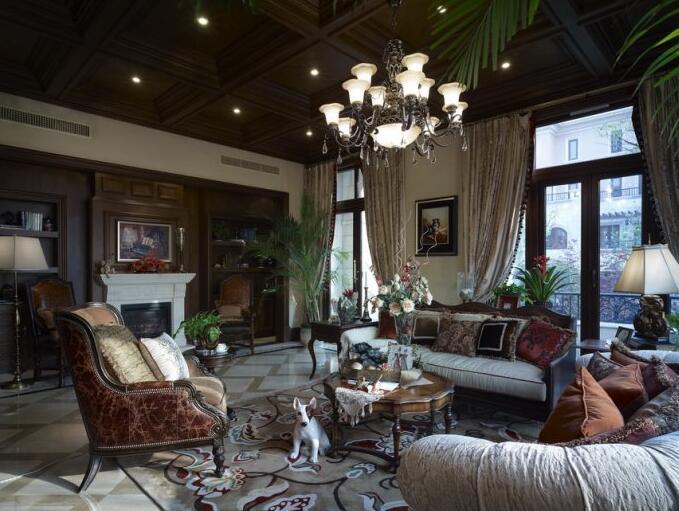 122平美式复古风格客厅瓷砖装修效果图_装修图片-保障