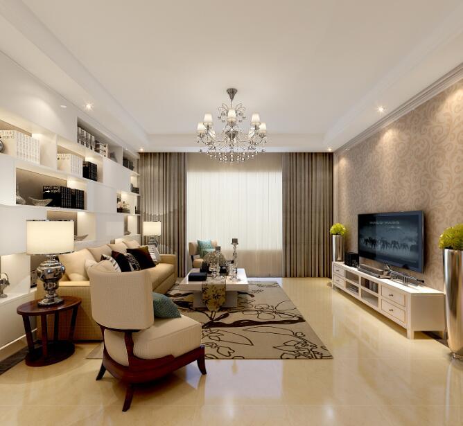 126平时尚简约风格别墅客厅装饰效果图_装修图片-保障
