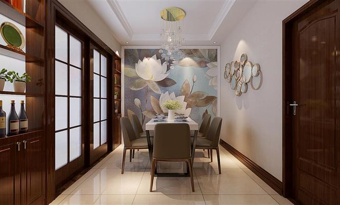 沙发背景墙 客厅背景墙米色板材坐垫 背景画运用硅藻泥,两边瞎用混油