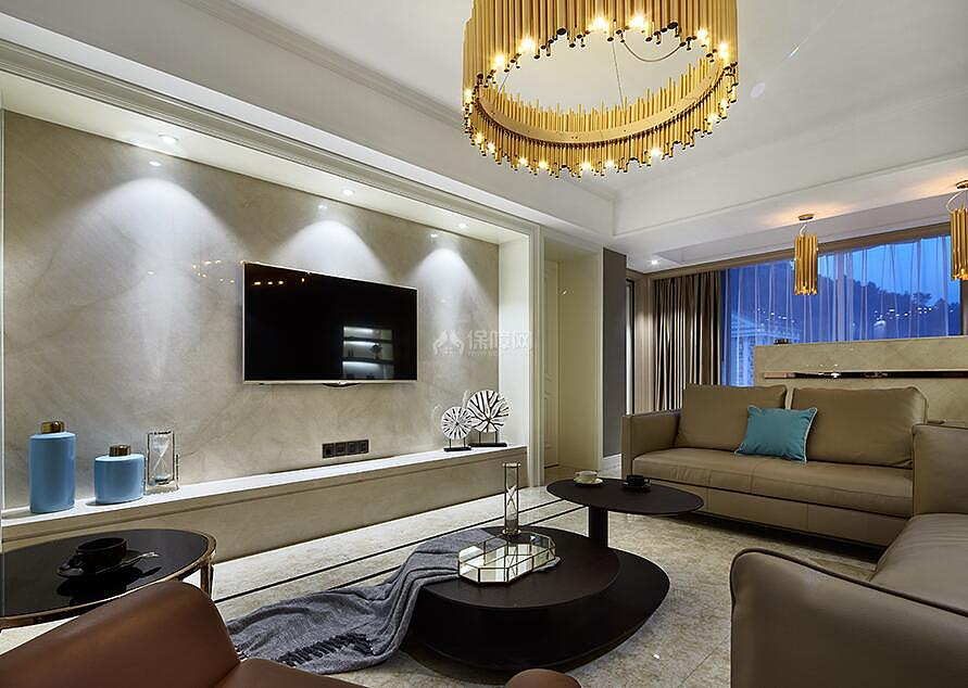 127㎡后现代风格三居室装修电视背景墙图片
