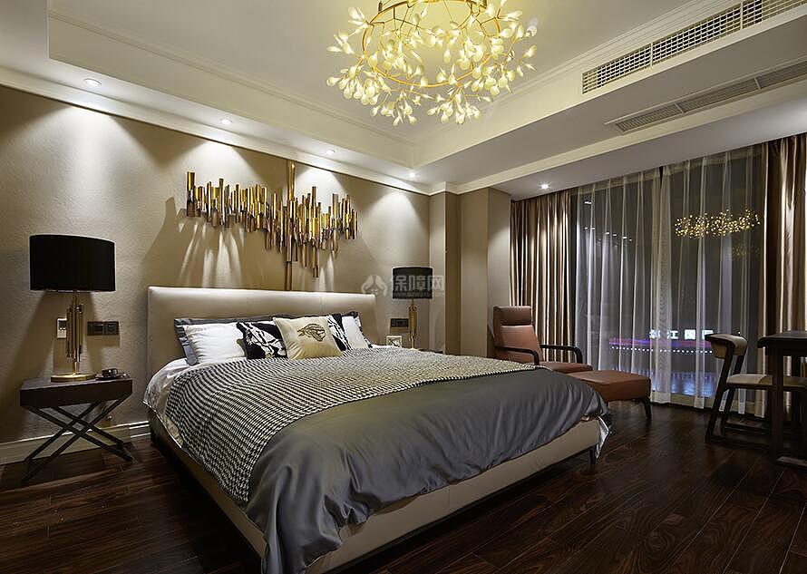 127㎡后现代风格三居室装修卧室效果图
