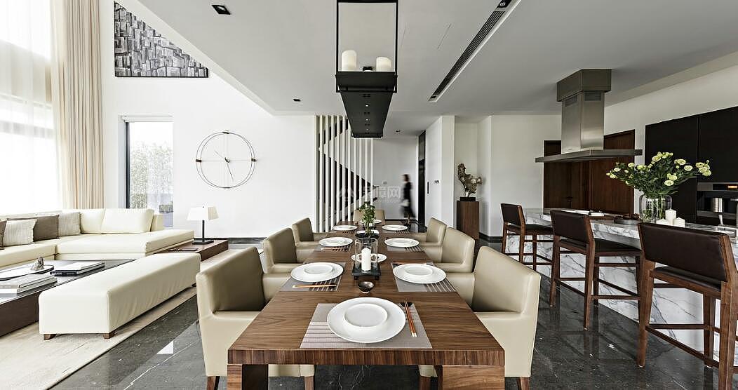 128平现代简约复式装修餐厅效果图