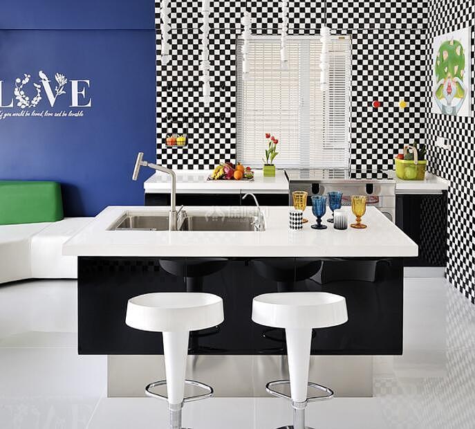 120平时尚混搭风格厨房装饰设计