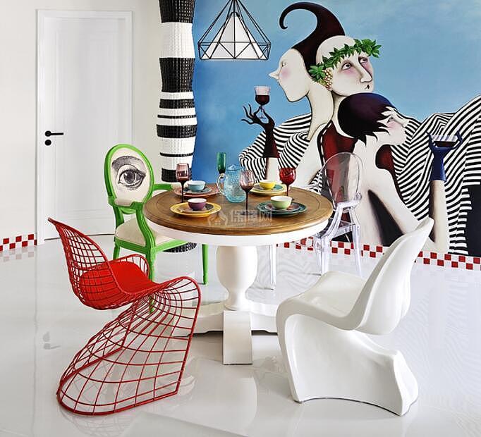 120平时尚混搭风格餐厅装饰效果图