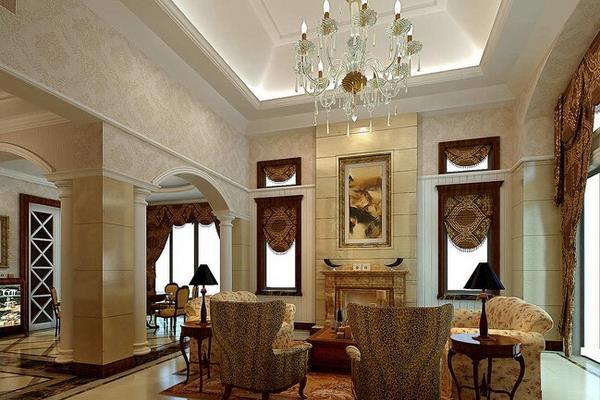 南瑞别墅欧式风格别墅设计客厅壁炉