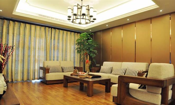 敔山岭秀180平米新中式风格客厅沙发背景墙图片