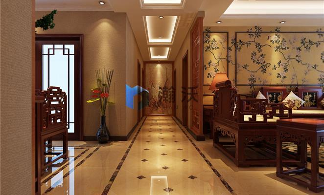 玄关 玄关背景墙棕色(原木色)瓷砖 玄关中式图片