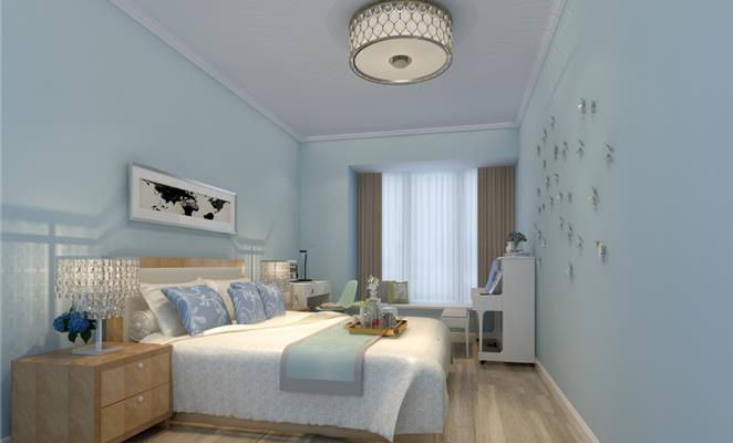 点赞 收藏 免费户型设计免费获取报价 主人房 卧室吊顶米色地板床品