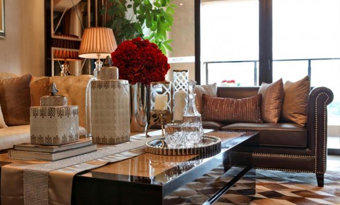 保利西江林语  欧式风格客厅效果图 客厅吊顶棕色(原木色)灯具地毯