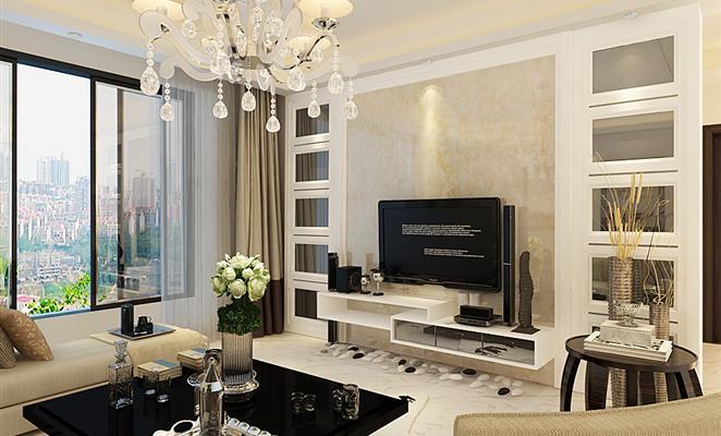 电视背景墙 客厅背景墙黄色石材窗帘         港式风格 > 图片