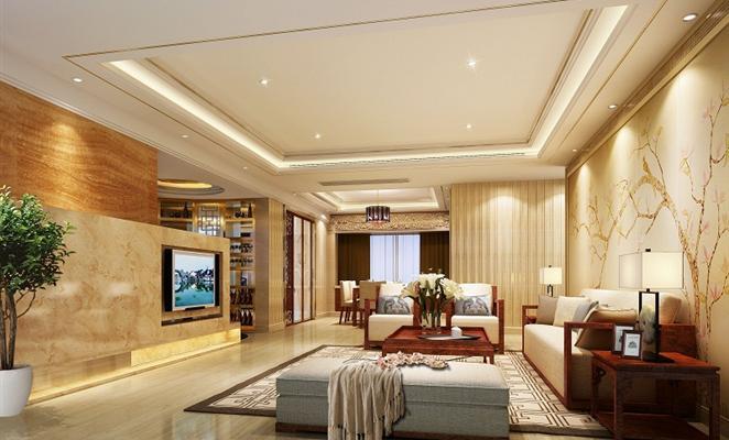 点赞 收藏 免费户型设计免费获取报价 新中式客厅 客厅吊顶米色地板地图片