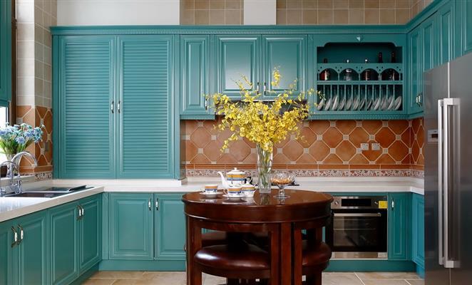 装修案例 美式复式楼  点赞 收藏 免费户型设计免费获取报价 厨房背景图片