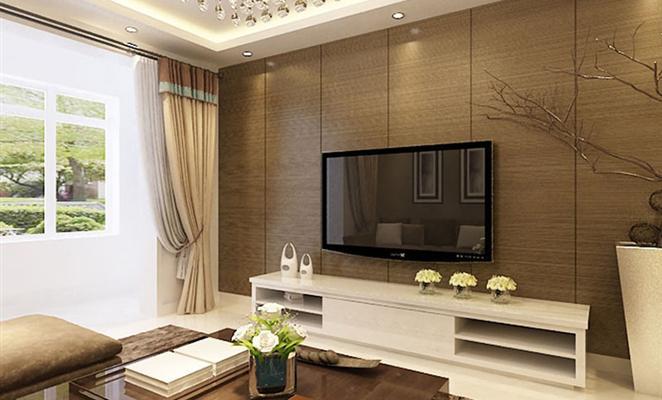 港式风格 客厅电视背景墙棕色(原木色)瓷砖床品套件