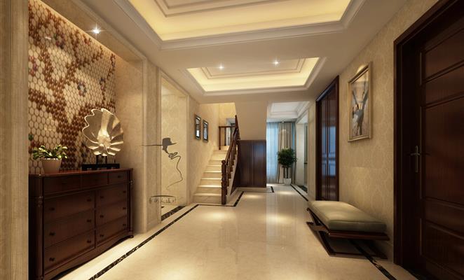 点赞 收藏 免费户型设计免费获取报价 玄关 玄关楼梯白色瓷砖工艺品