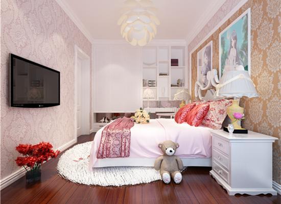 免费户型设计免费获取报价 欧式风格儿童房 儿童房卧室背景墙粉色壁纸