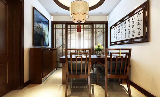点赞 收藏 免费户型设计免费获取报价 新中式风格餐厅 餐厅餐厅背景墙图片